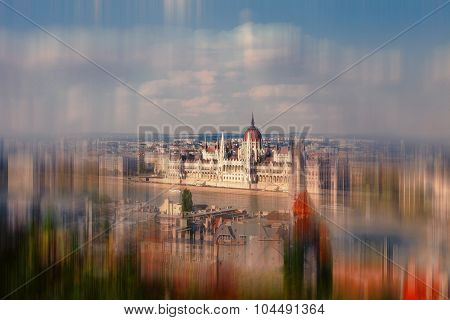 Abstract Background. View Of The Budapest And Danube River From Buda Castle. Blur Effect Defocusing