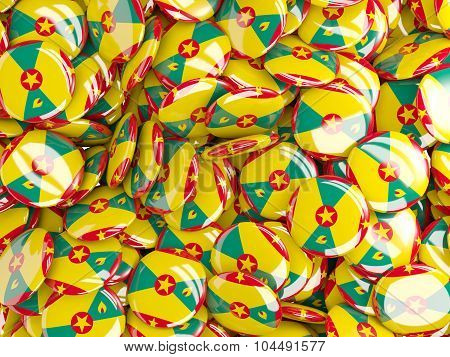 Background With Round Pins With Flag Of Grenada