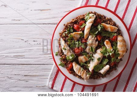 Grilled Chicken With Lentils And Cilantro. Horizontal Top View