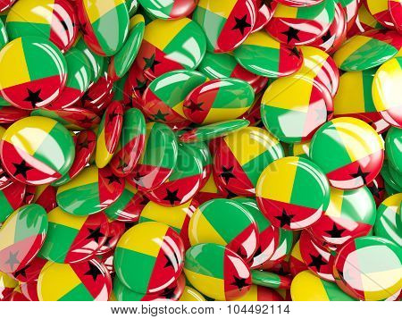 Background With Round Pins With Flag Of Guinea_bissau