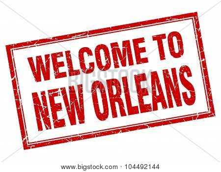 New Orleans Red Square Grunge Welcome Isolated Stamp