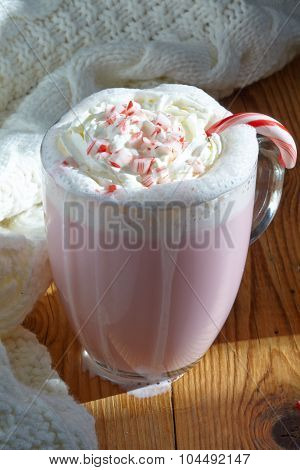 White hot chocolate with peppermint canes