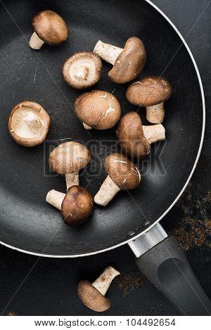 Top View Of Shiitake Mushroom In Old Pan  On Rustic Steel Plate Background