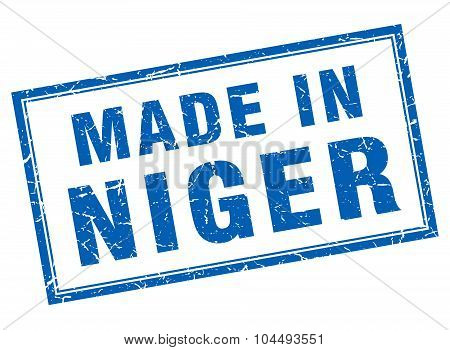 Niger Blue Square Grunge Made In Stamp