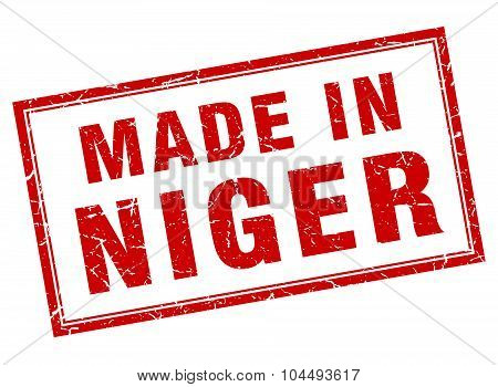 Niger Red Square Grunge Made In Stamp