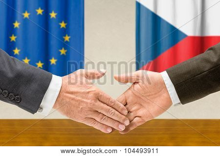 Representatives Of The Eu And The Czech Republic Shake Hands