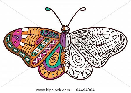 Cute butterfly half coloring page.