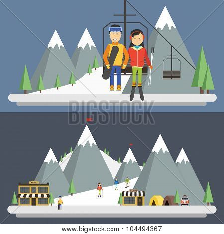 Ski Resort In Mountains, Winter Time