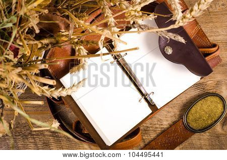 Fashion woman stuff on wooden background. Free space for text