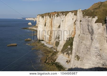 Cliffs In Etretat, Cote D'albatre, Pays De Caux, Seine-maritime Department, Upper Normandy Region, F