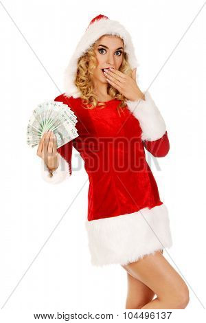 Beautiful santa woman holding a clip of polish money.