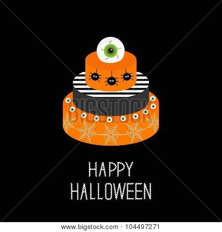 Cake With Pumpkin, Ghost, Spider, Web And Eyeballs. Happy Halloween. Black Background. Flat Design