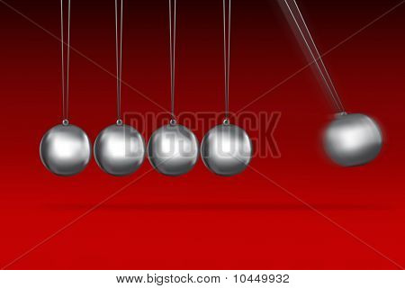 Newtons Cradle Idea On Red