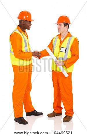 friendly contractors hand shaking on white background