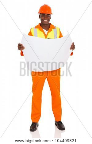 handsome african contractor holding blue print