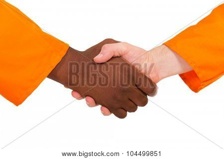close up of construction workers handshake on white background