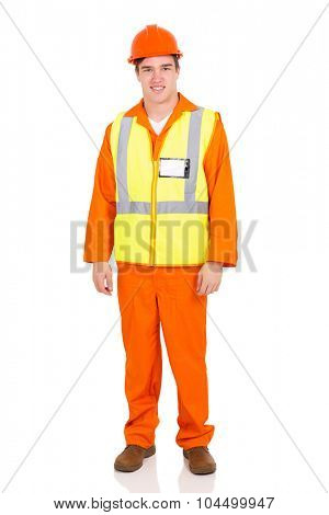 handsome young blue collar worker standing on white background