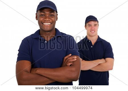 cheerful african worker and colleague on white background