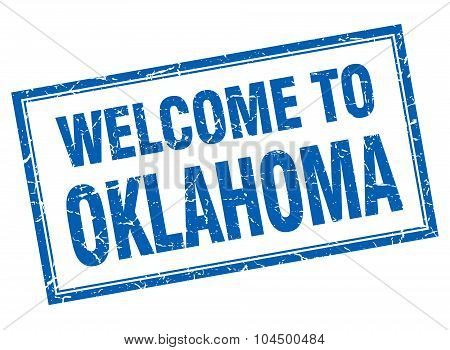Oklahoma Blue Square Grunge Welcome Isolated Stamp
