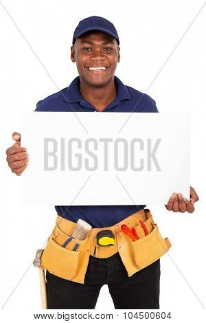 portrait of young afro american repairman presenting white board