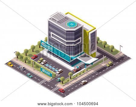 Vector isometric hospital building icon