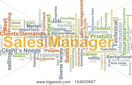 Background concept wordcloud illustration of sales manager