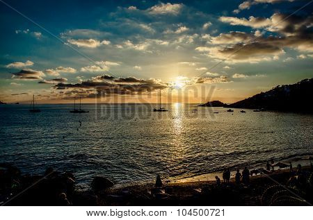 Cala D'hort Beach At Sunset. Ibiza