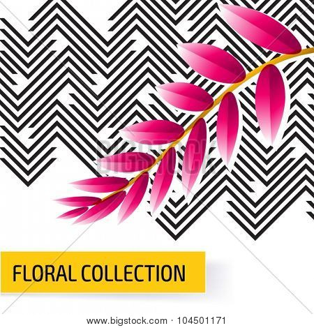 Seamless vector floral tropical pattern background with jungle leaves. Abstract stripped geometric texture