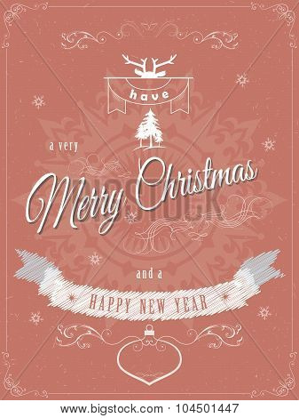 Christmas greeting scratched vector illustration.