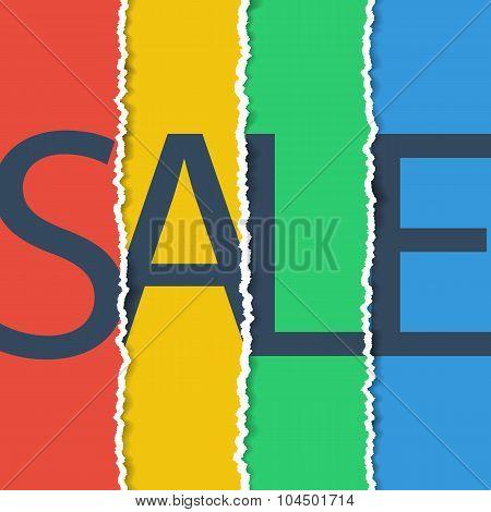 Sale poster. Sale banner. Torn paper effect.