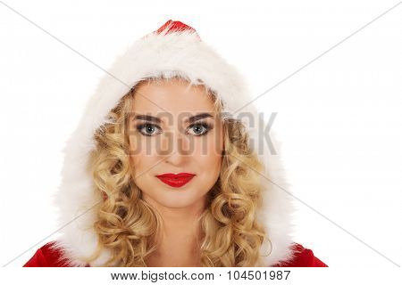Young beautiful happy santa woman.