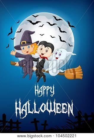 Little children and ghost fly with broom over full moon background