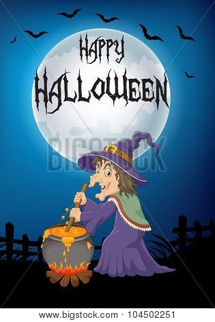 The ugly witch is stirring the potion with big moon background