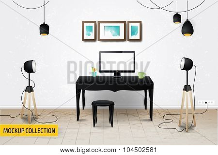Modern Business workplace with computers mockup template.