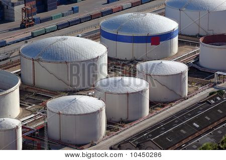 Aerial View Of Large Oil Tanks