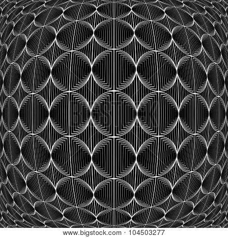 Design Warped Monochrome Circle Lines Pattern
