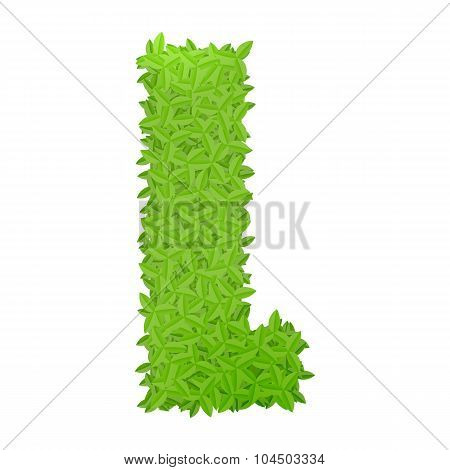 Uppecase letter L consisting of green leaves