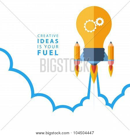 Creative idea is your fuel. Flat design colorful vector illustration.