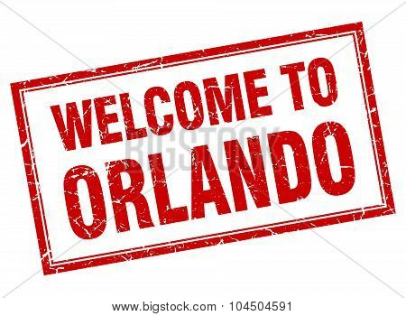 Orlando Red Square Grunge Welcome Isolated Stamp