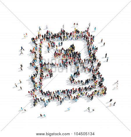 people shape  postage stamp