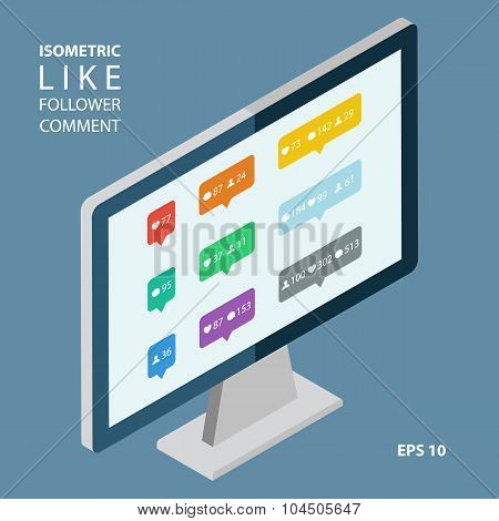 Isometric color like, follower, comment icons.