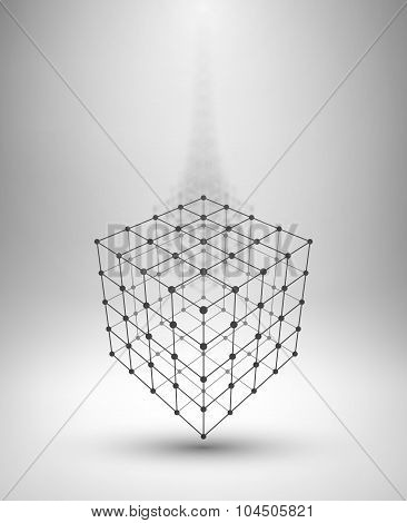 Wireframe Box. Cube with connected lines and dots.