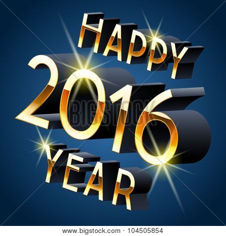 Happy new year greeting card with  3D  rotated  dark blue and gold letters