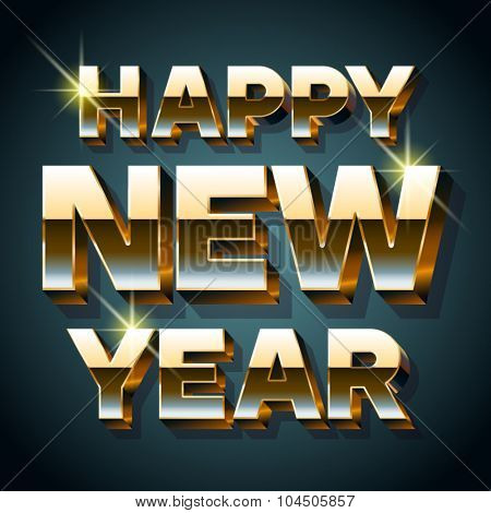 Happy new year greeting card with 3D bold gold font
