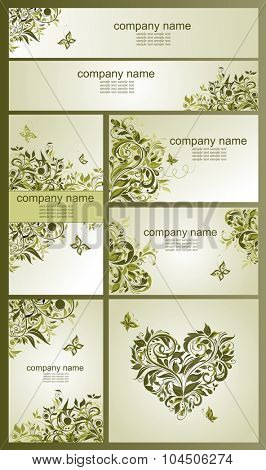 Set of vintage visiting cards and banners with floral olive design