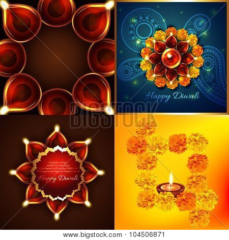vector collection of diwali background with decorated diya illustration