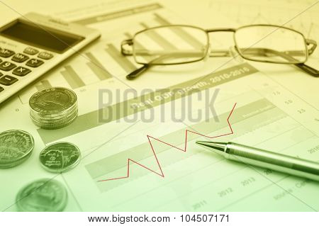 Pen, Gasses, Coin And Calculator On Financial Chart And Graph, Accounting Background