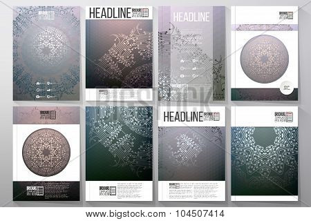 Business and scientific vector templates with abstract microchip background for brochures, flyers or