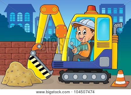 Excavator operator theme image 2 - eps10 vector illustration.