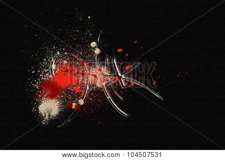 Grunge abstract textured mixed media collage, art background or texture with space for text